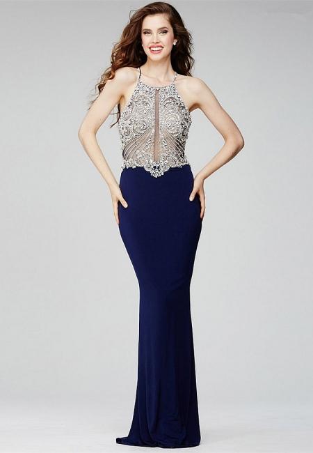 Luxe robe de soirée bretelle fine en cristal et perle couleurs au choix