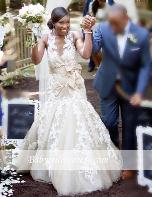 Robe de mariée sirène sans manches | Robe de mariage trompette dentelle chic