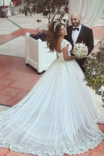 Forme princesse robe de mariée en dentelle délicat avec bretelle en broderie exquis longueur sol