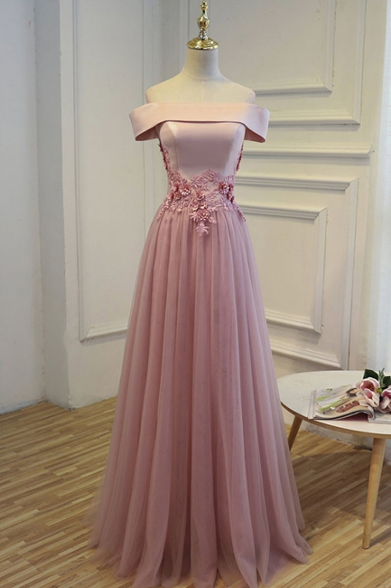 Elegant robe de soirée longue rose épaules nus robe de cocktail en tulle avec dentelle