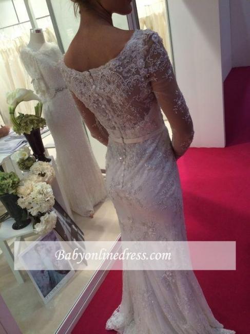 Robe de mariée sirène dentelle élégante | Robe de mariage trompette manches longues