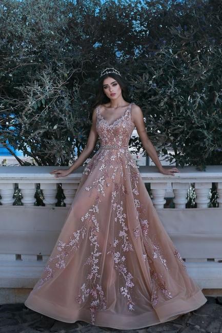 Forme Princesse Longueur ras du sol Bretelles spaghetti Tulle Robes de bal 2021 avec Appliques
