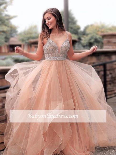 robe de soirée longue A-ligne avec perles cristaux en tulle