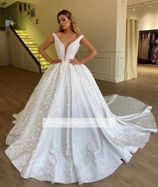 Robe de mariée princesse luxueuse avec motifs | Robe de mariage princesse col en V