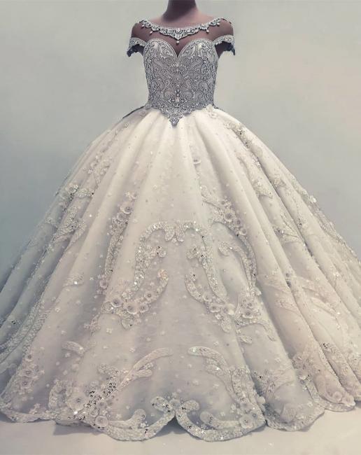 Robe de mariée princesse luxueuse avec cristaux | Robe de mariage princesse longue élégante