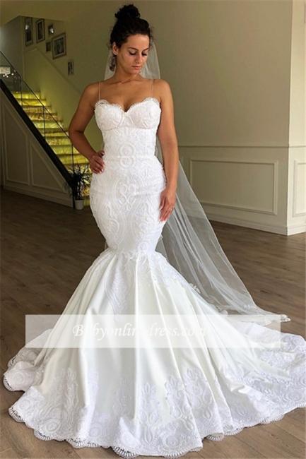 Robe de mariée sirène bretelles fines | Robe de mariage trompette avec dentelles
