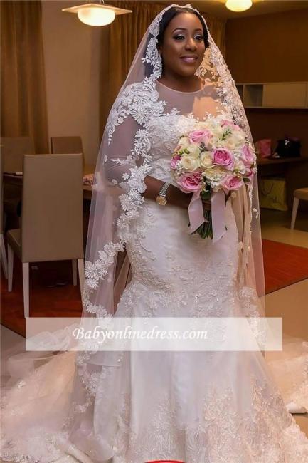 Robe de mariée sirène manches longues | Robe de mariage trompette grandes tailles