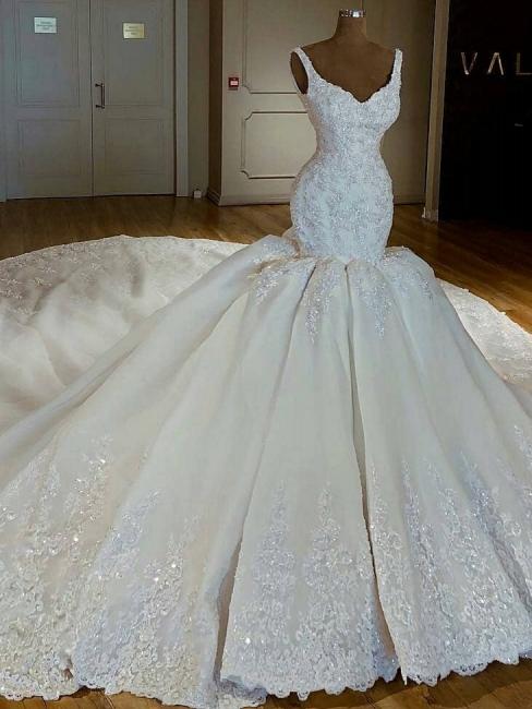 Robe de mariée sirène luxueuse traîne longue avec appliques | Robe de mariage trompette longue élégante