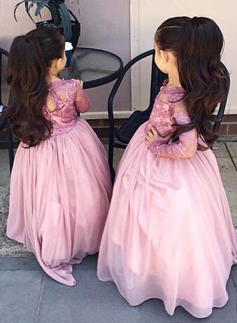 Forme Princesse Longueur ras du sol Col U profond Mousseline polyester Robes de demoiselle d'honneur - junior avec Dente