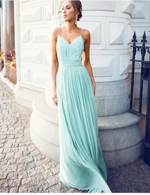 Forme A-line Longueur ras du sol Col en V Mousseline polyester fashion robe couleurs au choix