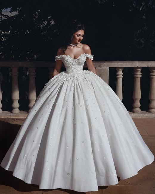 Robe de mariée princesse luxueuse épaules nues avec fleurs | Robe de mariage princesse longue élégante