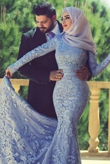Forme Sirène Manches Longue Robe de mariée/soirée Pas Cher avec dentelle