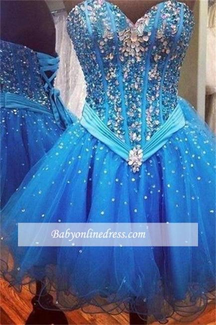 Robe de soirée princesse courte organza chic | Robe de cocktail princesse mini avec cristaux