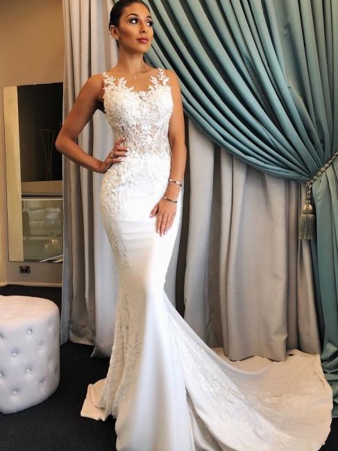 Robe de mariée sirène dentelle élégante | Robe de mariage trompette avec appliques