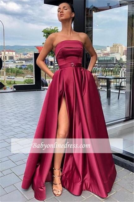 Robe de bal princesse moderne sans bretelles | Robe de soirée princesse fendue devant