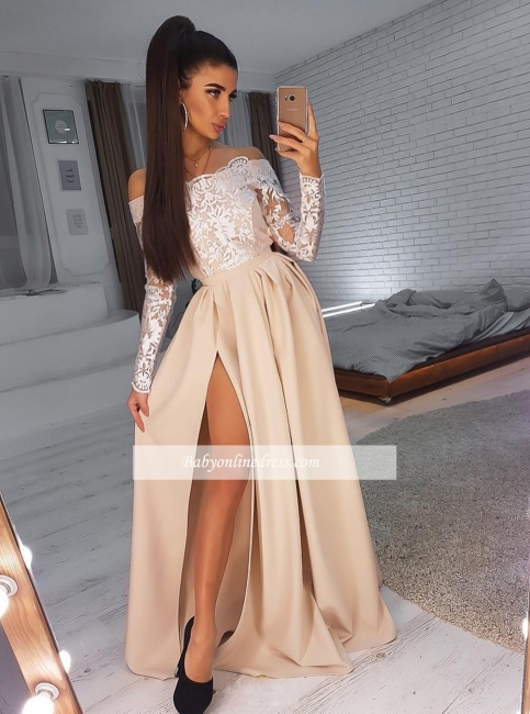 robe de soirée longue fendue épaules nues en dentelles avec manches longues