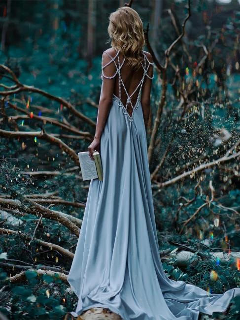 Forme A-line robe de soirée bretelle en perle longueur sol couleurs au choix