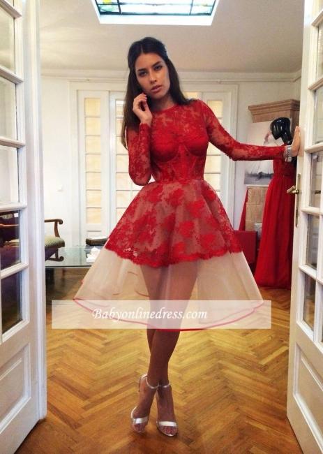 Robe de soirée princesse dentelle sublime | Robe de cocktail princesse mini manches longues