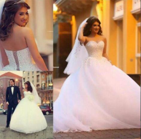 Forme Marquise Robes de mariée robe de bal avec Perle