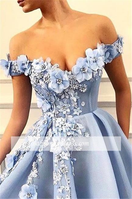 Robe de bal princesse chic avec fleurs   Robe de soirée princesse épaules nues