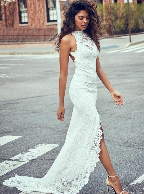 Robe de mariée sirène dentelle fendue devant dos nu | Robe de mariage trompette longue chic