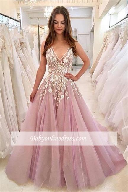 robe de soirée longue princesse en appliques à fleurs