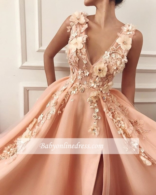 Robe de bal princesse chic avec appliques   Robe de soirée princesse col en V