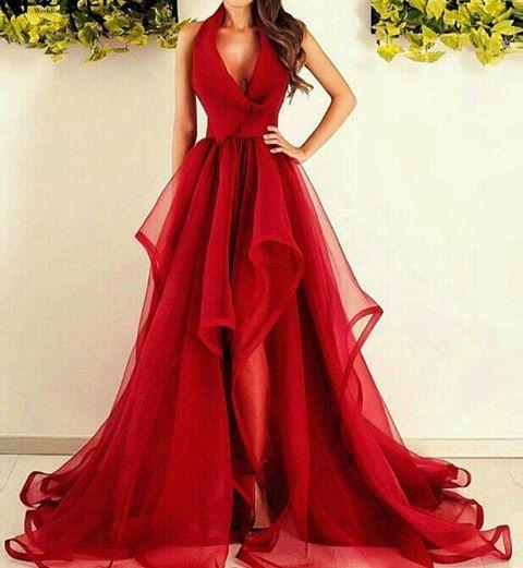 Rouge Robe de Soirée Longue en Tulle Robe de Cocktail Plissé sans manches nouvelle collection 2020 MM0014