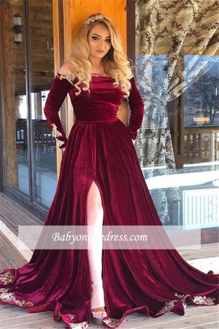 robe de soirée longue épaules nues en appliques avec fendu