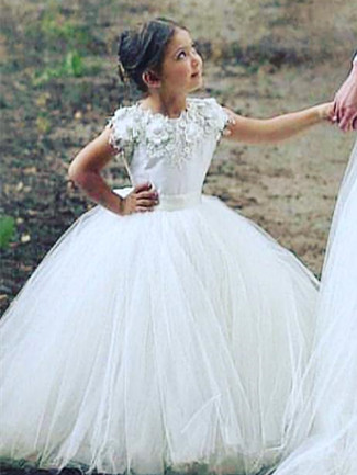 Robe de demoiselle d'honneur fillette avec fleurs | Robe fillette de cérémonie 2021