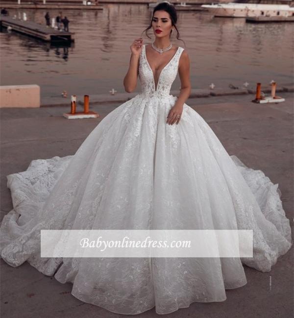 Robe de mariée princesse dentelle sublime | Robe de mariage princesse col en V