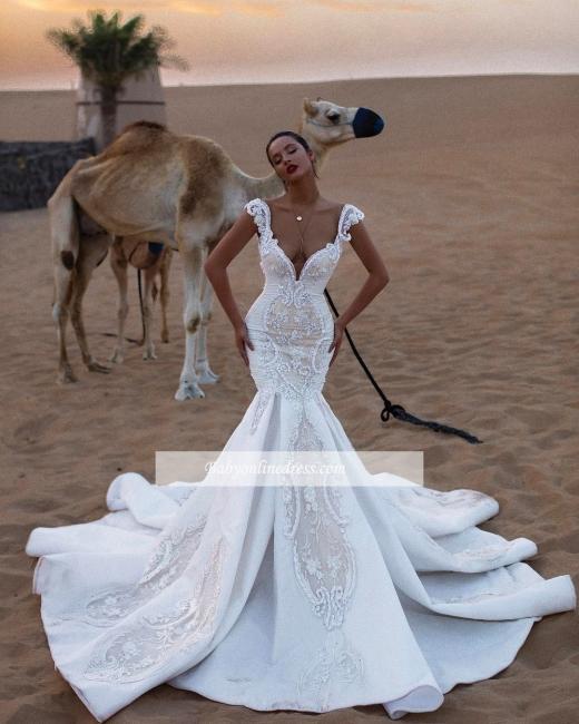 Robe de mariée sirène avec appliques | Robe de mariage trompette luxueuse