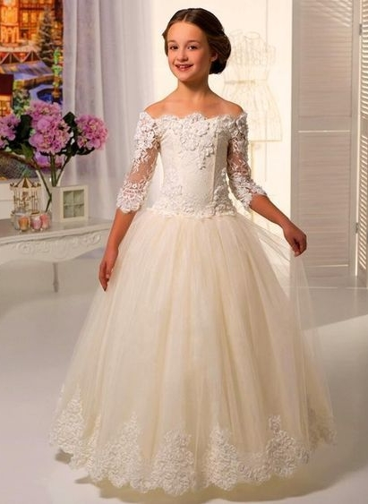 Robe de demoiselle d'honneur fillette princesse tulle avec dentelle | Robe fillette de cérémonie 2021