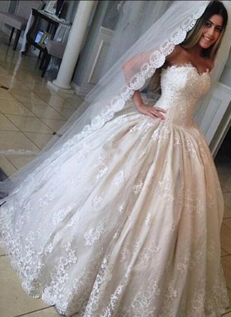 Forme Marquise Longueur ras du sol Col en cœur robes de mariée