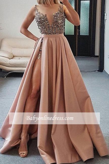 robe de soirée longue fendue avec cristaux