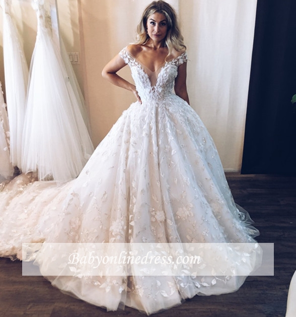 Robe de mariée princesse avec appliques | Robe de mariage princesse épaules nues