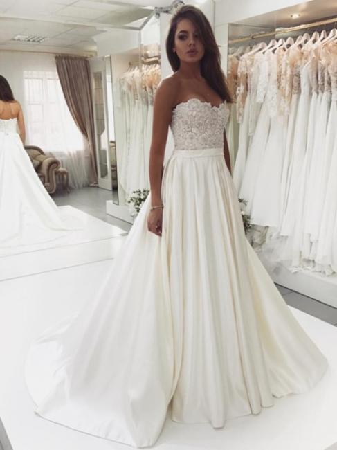 Robe de mariée princesse dentelle chic | Robe de mariage princesse sans bretelles