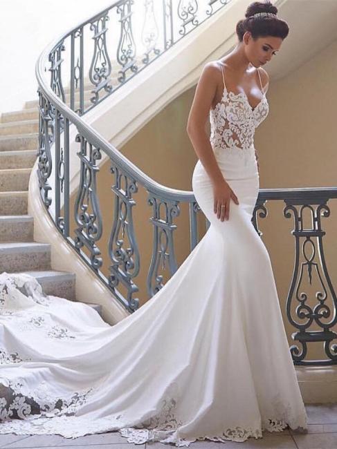 Robe de mariée sirène dentelle avec bretelles spaghetti | Robe de mariage trompette longue sexy