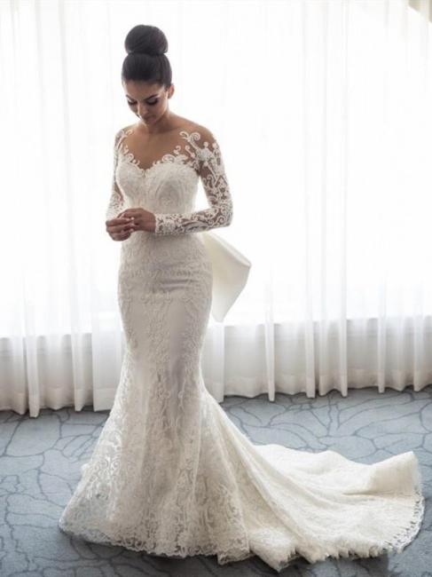 Robe de mariée sirène traîne détachable | Robe de mariage trompette dentelle élégante