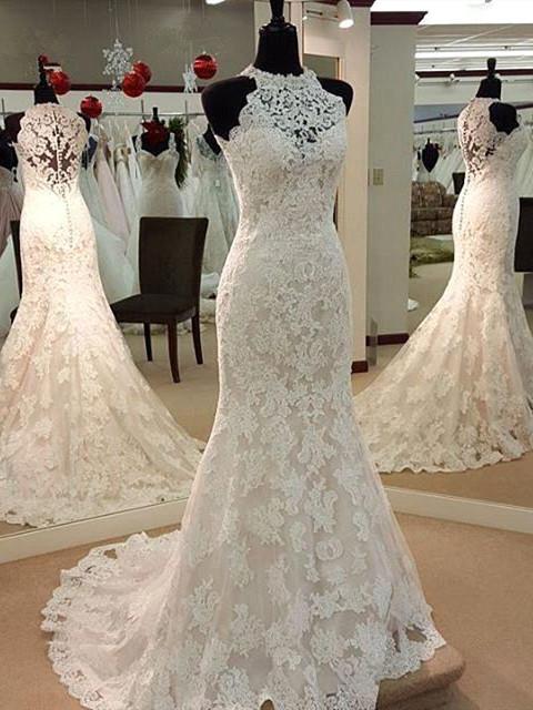Robe de mariée sirène dentelle élégante | Robe de mariage trompette à col halter