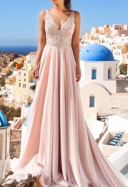 Luxueux Col en V Sans Manches Forme Marquise Robe de Soirée Longue Rose Robe de Cocktail avec Applique