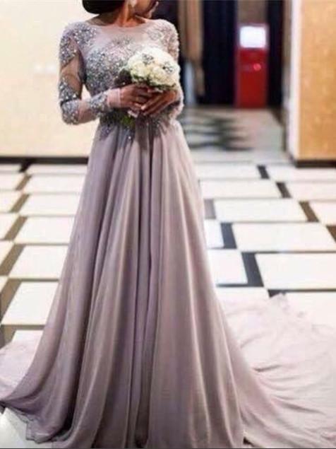 Robe de soirée A-ligne manches longues avec perles | Robe de cérémonie A-ligne longue chic