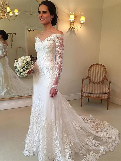 Forme trompette robe de mariée avec manche longue en dentelle délicat traine alayage