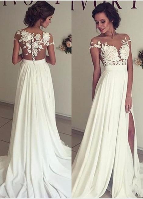 Robe de mariée A-ligne mousseline chic | Robe de mariage ligne A avec dentelle