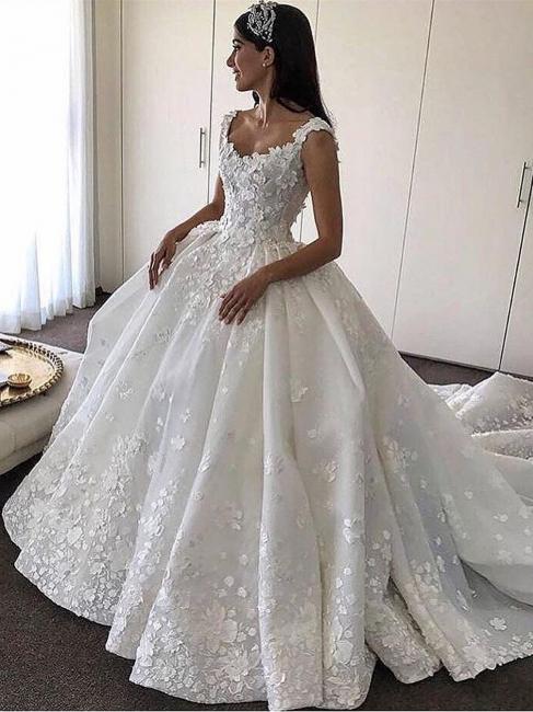Robe de mariée princesse traîne cathédrale avec fleurs | Robe de mariage princesse longue élégante