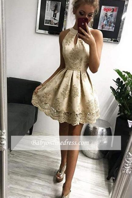 robe de cocktail mini courte en appliques dentelles