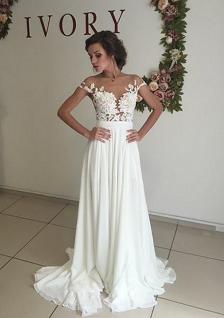Robe de mariage robe de cérémonie élégante dentelle mousseline polyester boutonnage dans le dos