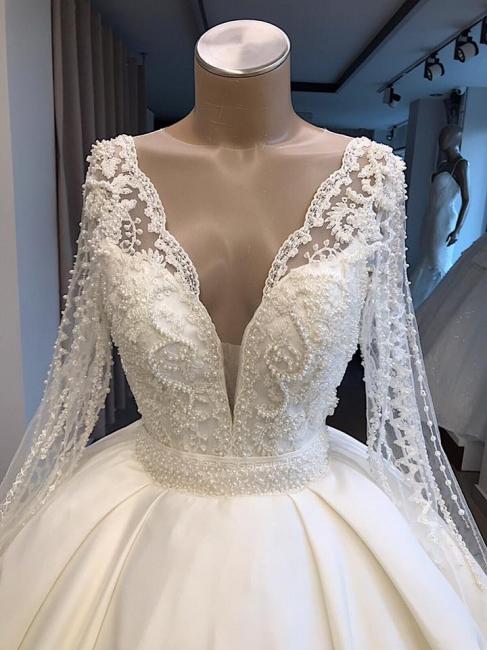 Robe de mariée princesse manches longues | Robe de mariage princesse dentelle élégante