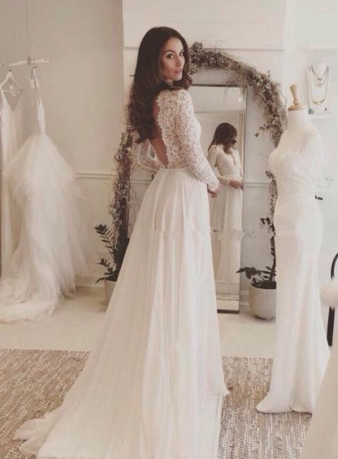 Forme Princesse alayage/Pinceau train Col en V Mousseline polyester Robes de mariée 2021 avec Dentelle