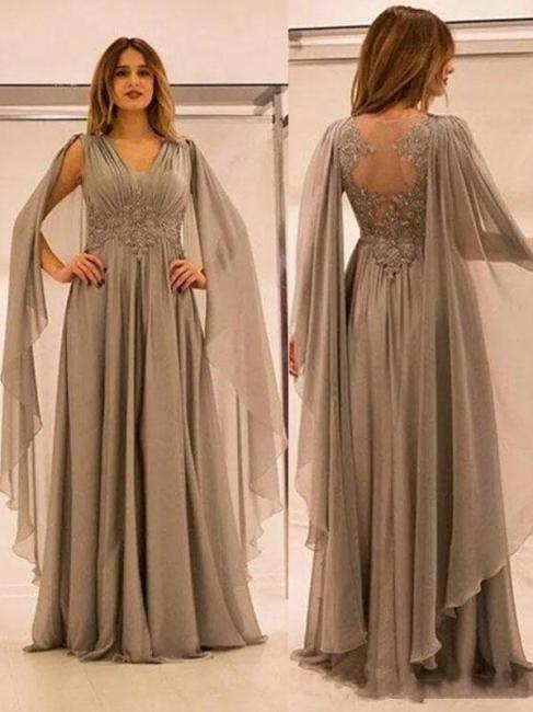 Robe mère de mariée A-ligne mousseline chic | Robe de soirée ligne A col en V